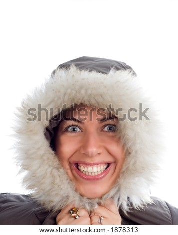 Young woman is happy but cold in the winter - See more in portfolio