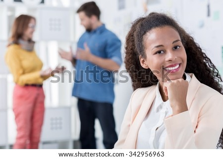 Young woman is very confident in her job
