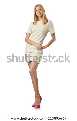 Young woman isolated on the white