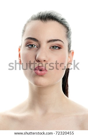 young woman making kissing expression