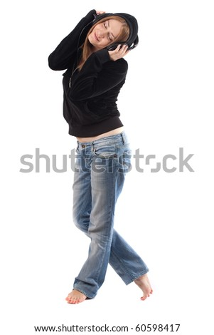 young woman posing and wearing headphones,isolated on white