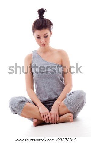 Young Woman Sitting In Lotus Pose Stock Photos Image