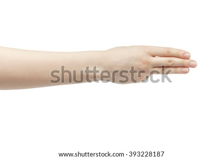 young woman right hand counting three isolated  on a white isolated background