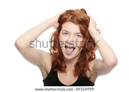 Young woman screaming, isolated on white
