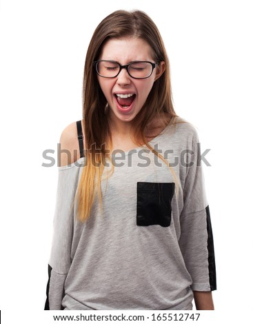 young woman screaming isolated on white background
