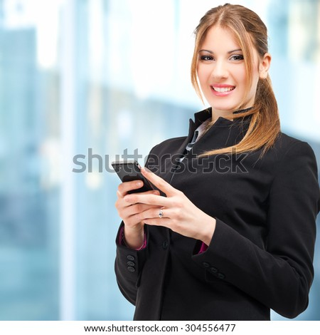 Young woman sending a message