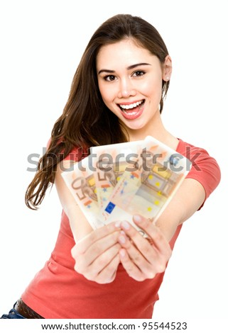 Young woman showing 150 euro happy and excited isolated on white background.