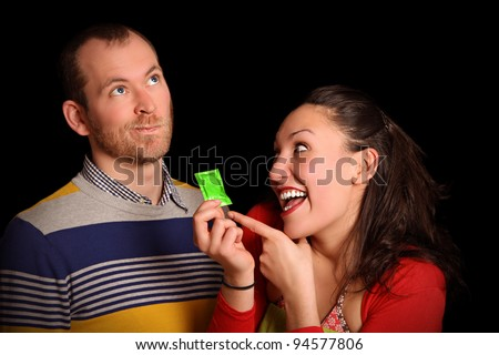 young woman trying to convince her partner that condoms are better
