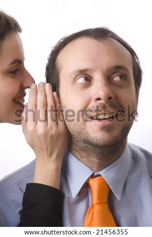 young woman whispering a secret to a business man