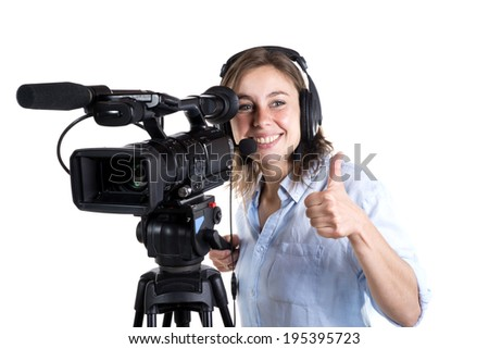 young woman with a video camera isolated on a white background