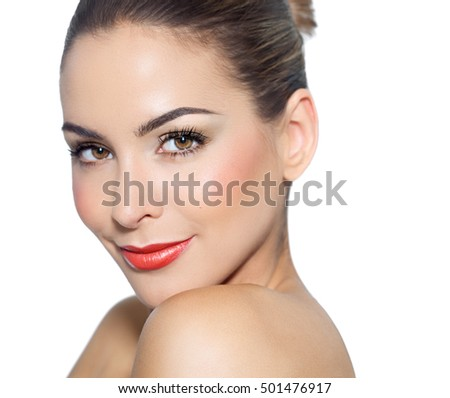 Young woman with beautiful makeup isolated on white background.