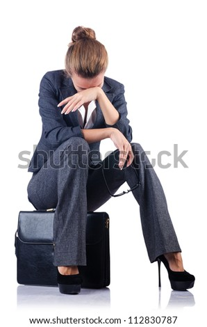 Young woman with briefcase on white