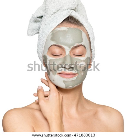young woman with face mask isolated on white background