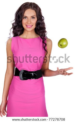 Young woman with green apple isolated