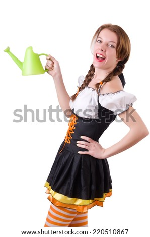 Young woman with watering can isolated on white