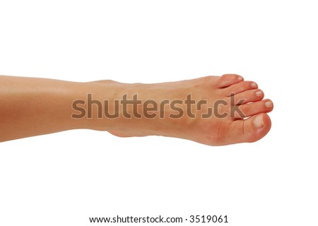 Young womans leg isolated over white background