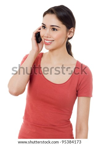 Young women calling with mobile phone on white background