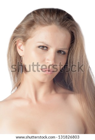 young 20-24 years old blond girl amazing face isolated over white background