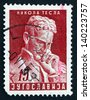 YUGOSLAVIA - CIRCA 1953: a stamp printed in the Yugoslavia shows Nikola Tesla, Inventor, 10th Anniversary of the Death, circa 1953 - stock photo