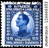 "YUGOSLAVIA - CIRCA 1921: A stamp printed in Yugoslavia (Kingdom Serbia, Croatia and Slavonia) shows portrait of King Alexander I of Yugoslavia, w/o inscriptions, series ""King Alexander I"", circa 1921 - stock photo"