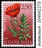 YUGOSLAVIA - CIRCA 1965: A stamp printed in Yugoslavia shows field poppy, series, circa 1965 - stock photo