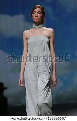 "ZAGREB, CROATIA - APRIL 09: Fashion model wears clothes made by Nebo on ""CRO A PORTER"" show on April 09, 2014 in Zagreb, Croatia"
