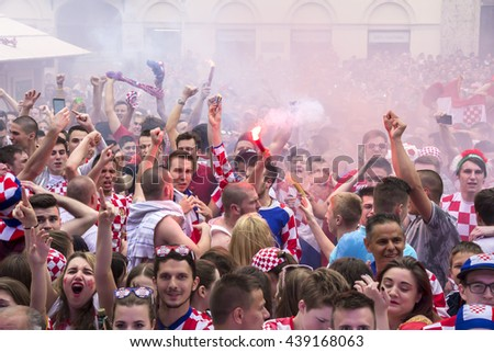 ZAGREB, CROATIA - JUNE 17 Croatian football fans on the Ban Jelacic Square, watching EURO 2016 match Czech Republic vs Croatia on June 17, 2016 in Zagreb, Croatia