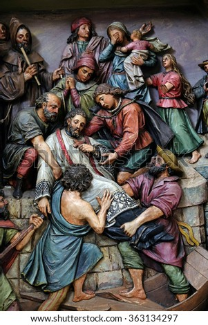 ZAGREB, CROATIA - MAY 28: Martyrdom of Saint John of Nepomuk, the altar in the Basilica of the Sacred Heart of Jesus in Zagreb, Croatia on May 28, 2015