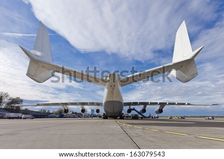 Zagreb, Croatia - November 9th, 2013.: Biggest plane in the world, Ukrainian Antonov AN-225 Mriya, is embarking 140 ton power generator on Zagreb airport to ship it to power-plant in the Philippines.