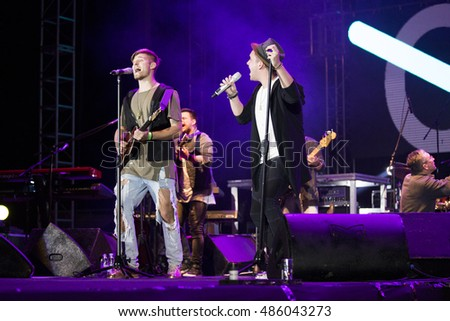 ZAGREB, CROATIA - SEPTEMBER 17, 2016: Band OSDS as a opening act for Opca opasnost rock band on concert on Salata stadium in Zagreb