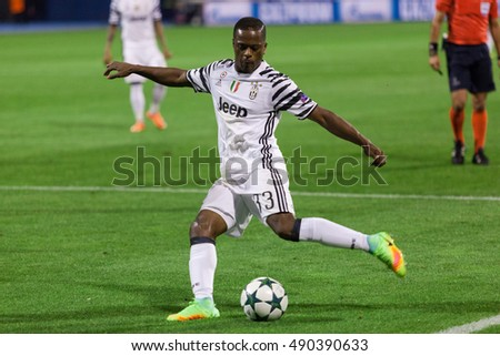 ZAGREB, CROATIA - SEPTEMBER 27, 2016: UEFA Champions League 2015-16 Group H - GNK Dinamo Zagreb VS FC Juventus. Patrice EVRA (33) with the ball.