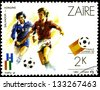 "ZAIRE - CIRCA 1982: A stamp printed in Zaire shows footballer in match between Salvador and Hungary, with inscription and name of series ""World Cup Football Championship, Spain, 1982"", circa 1982 - stock photo"