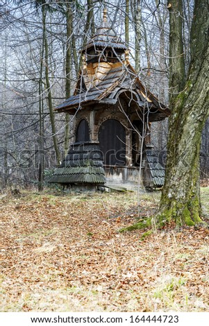 ZAKOPANE - NOVEMBER 20: Water Well styled on church bell tower built by Stanislaw Witkiewicz project during the construction of Willa Pod Jedlami 1896 to 1897, in Zakopane, Poland on November 20, 2013