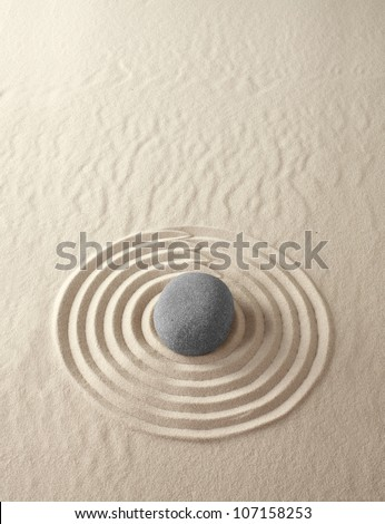 Zen meditation garden lines and patterns with sand and stones Japanese relaxation concept harmony and spirituality buddhism, spa relaxation and concentration circle