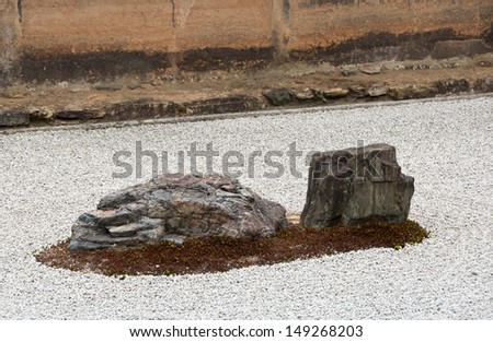 Zen Rock Garden in Ryoanji Temple, famous place in Kyoto, Japan