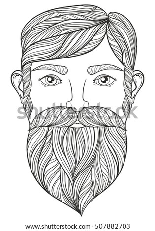 zentangle portrait of man with mustache and beard for adult coloring pages craft beer logo - Mustache Coloring Pages