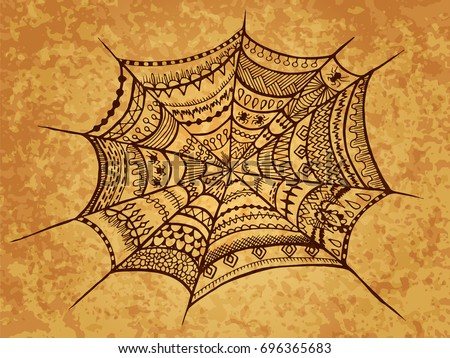 zentangle spider web halloween illustration autumn october holiday for web design textures - Spider Web Halloween