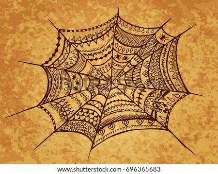 zentangle spider web halloween illustration autumn october holiday for web design textures - Spider Web Halloween