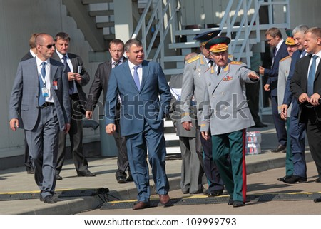 ZHUKOVSKY, RUSSIA - AUG 11: Anatoliy Serdyukov, the Defense Minister of Russia at the celebration of 100 years of military air forces of Russia. August, 11, 2012 at Zhukovsky, Russia