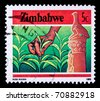 ZIMBABWE - CIRCA 1985: A stamp printed in Zimbabwe shows tea garden, circa 1985 - stock photo