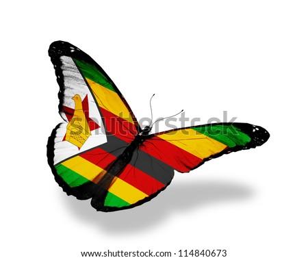 Zimbabwe flag butterfly flying, isolated on white background - stock ...