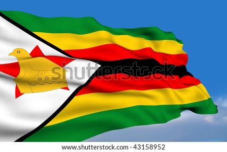 Zimbabwean flag waving on wind