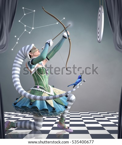 Zodiac series - Sagittarius as a beautiful jester with arc and target - 3D illustration
