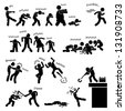 Zombie Undead Attack Apocalypse Survival Defense Outbreak Stick Figure Pictogram Icon - stock photo