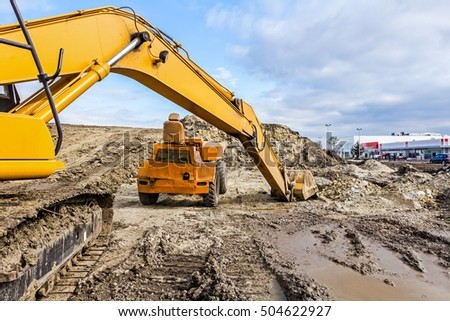 Zrenjanin, Vojvodina, Serbia - October 9, 2015: View on excavator with caterpillar who is parked at construction site.
