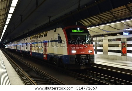 ZURICH, SWITZERLAND -23 JULY 2016- A train from the SBB Swiss Federal Railways company (Schweizerische Bundesbahnen) at the Zurich train station.