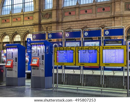 Zurich, Switzerland - 9 October, 2016: ticket automates and departure boards in the hall of Zurich main railway station. Zurich main railway station is the largest railway station in Switzerland.