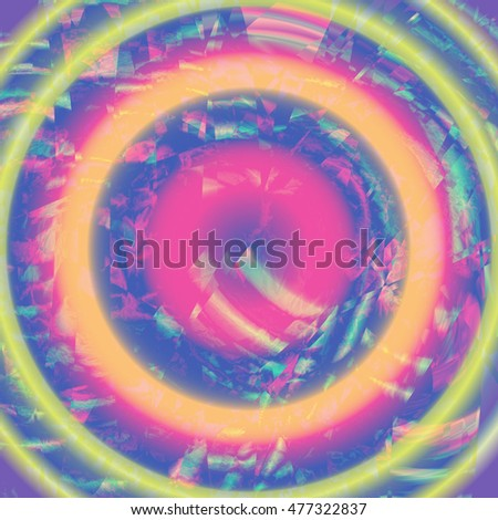 Abstract  Background for Business Presentations. Illusion of colorful radial effect.  Colorful shining circle tunnel vector background. Glitches. The closure of the TV screen. Fantasy. Vector.