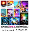 10 Abstract Music Background for Discoteque Flyer with a lot of desgin elementes - Set 3 - stock vector