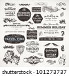 ?alligraphic elements and page decoration, Summer Holiday and Travel Time Label collection with black grungy design for old style design. Eps10 vector set. - stock vector